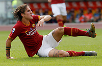 Roma's Nicolo' Zaniolo sits on the pitch during the Serie A soccer match between Roma and Cagliari at Rome's Olympic Stadium, October 6, 2019. UPDATE IMAGES PRESS/ Riccardo De Luca
