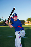 AZL Rangers left fielder Justin Jacobs (54) poses for a photo prior to a game against the AZL Giants on August 22 at Scottsdale Stadium in Scottsdale, Arizona. AZL Rangers defeated the AZL Giants 7-5. (Zachary Lucy/Four Seam Images via AP Images)