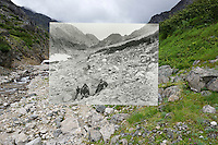 KLGO Photo Station CH-10 Long Hill, August 20, 2013, View to the north below the Scales on Long Hill on the Chilkoot Trail, Klondike Gold Rush National Historical Park, Alaska, United States. Photo by Ronald D. Karpilo Jr. The historic photo taken 1897 by Frank La Roche (University of Washington Libraries, Special Collections, La Roche 2038) is digitally overlaid on the repeat photo.