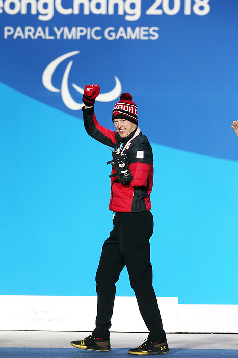 Pyeongchang, Korea, 14/3/2018- Mark Arendz receives a bronze medal at the 2018 Paralympic Games in PyeongChang. Photo Scott Grant/Canadian Paralympic Committee.