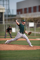 Oakland Athletics relief pitcher JB Wendelken (58) delivers a pitch to the plate during a Minor League Spring Training game against the Chicago Cubs at Sloan Park on March 13, 2018 in Mesa, Arizona. (Zachary Lucy/Four Seam Images)