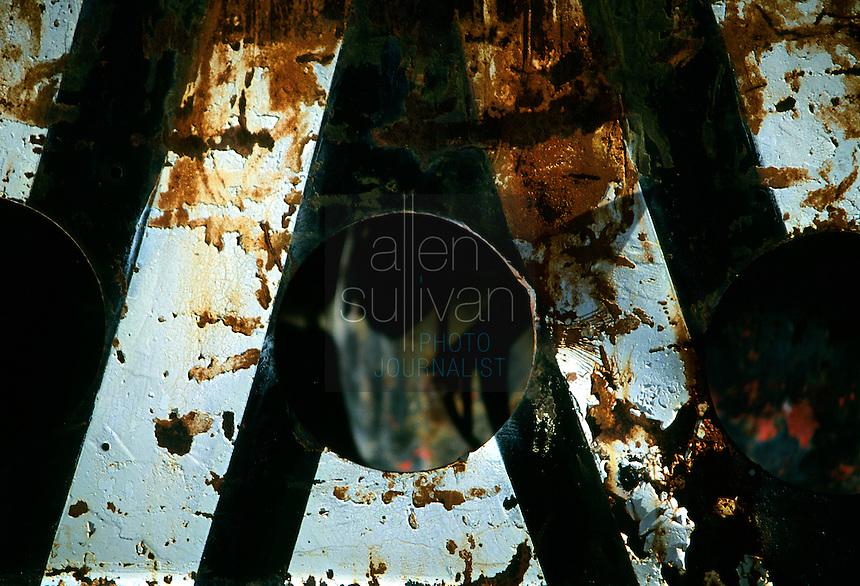 Rusted painted metal, Santa Barbara, California, 1992.