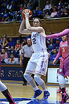 08 February 2015: Duke's Erin Mathias. The Duke University Blue Devils hosted the Clemson University Tigers at Cameron Indoor Stadium in Durham, North Carolina in a 2014-15 NCAA Division I Women's Basketball game. Duke won the game 89-60.