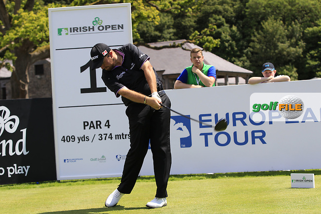 Shane Lowry (IRL) team during Wednesday's Pro-Am of the 2014 Irish Open held at Fota Island Resort, Cork, Ireland. 18th June 2014.<br /> Picture: Eoin Clarke www.golffile.ie
