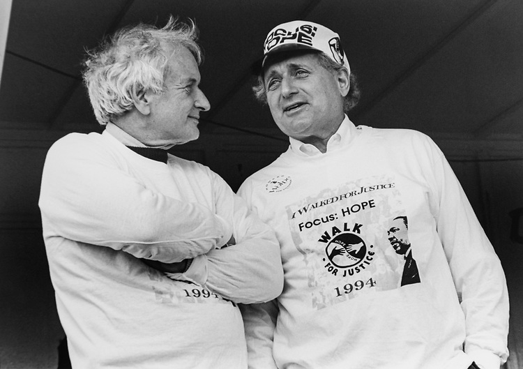 Rep. Sander Levin, D-Mich., with brother Sen. Carl Levin, D-Mich., at Focus Hope Walk on Oct. 13, 1994. (Photo by Laura Patterson/CQ Roll Call via Getty Images)