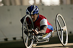 Alejando Albor (USA) crosses the Queensboro bridge from Queens into Manhattan in his handcycle wheelchair during the ING New York City Marathon in New York, New York on November 4, 2007.  Albor won the race with a time of 1:17:48.
