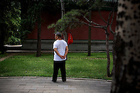A man takes a break from daily exercises in Ritan Park in Beijing, China on Wednesday, August 6, 2008. Ritan Park is one of three parks designated for protests during the Olympics. The city of Beijing is gearing up for the opening ceremonies of the Olympic Games.  Kevin German