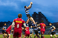 Luke Charteris of Bath United wins the ball at a lineout. Aviva A-League match, between Bath United and Harlequins A on March 26, 2018 at the Recreation Ground in Bath, England. Photo by: Patrick Khachfe / Onside Images