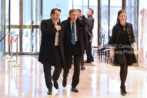 General David Petraeus (center), Former Director of the Central Intelligence Agency, is seen arriving in the lobby of the Trump Tower in New York, New York, on November 28, 2016. <br /> Credit: Anthony Behar / Pool via CNP