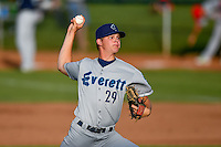 Northwest League All-Star starting pitcher Brandon Miller (29) of the Everett AquaSox delivers a pitch to the plate against the Pioneer League All-Stars at the 2nd Annual Northwest League-Pioneer League All-Star Game at Lindquist Field on August 2, 2016 in Ogden, Utah. The Northwest League defeated the Pioneer League 11-5. (Stephen Smith/Four Seam Images)