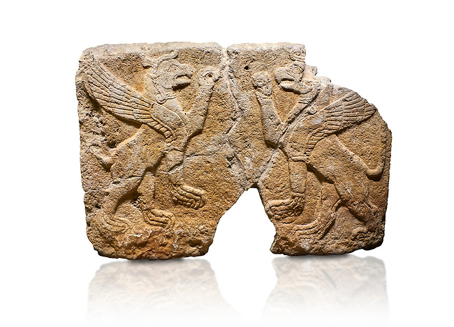 Hittite monumental relief sculpted orthostat stone panel Orthostats of a Procession. Limestone, Karkamıs, (Kargamıs), Carchemish (Karkemish), 900 700 BC. Griffin. Anatolian Civilisations Museum. Ankara. Bird - headed lions standing opposite on their hind legs (griffin). It is symmetric. <br /> <br /> Against a white background.