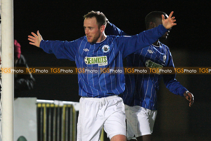 Glenn Poole scores the first goal for Billericay and celebrates - Chelmsford City vs Billericay Town - Blue Square Conference South Football at Melbourne Park Stadium - 04/02/13 - MANDATORY CREDIT: Gavin Ellis/TGSPHOTO - Self billing applies where appropriate - 0845 094 6026 - contact@tgsphoto.co.uk - NO UNPAID USE.