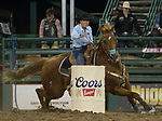Jody Hale competes in the Barrel Racing event during the Reno Rodeo on Sunday, June 23, 2019.