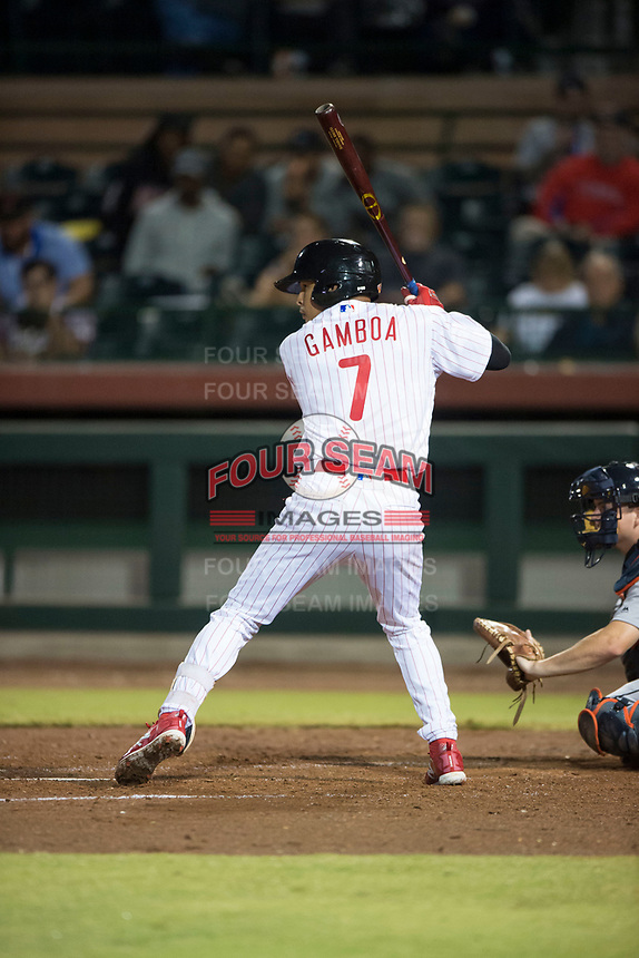 Scottsdale Scorpions third baseman Arquimedes Gamboa (7), of the Philadelphia Phillies organization, at bat during an Arizona Fall League game against the Mesa Solar Sox on October 9, 2018 at Scottsdale Stadium in Scottsdale, Arizona. The Solar Sox defeated the Scorpions 4-3. (Zachary Lucy/Four Seam Images)