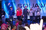 Left to right:  Nate Holland, Travis Ganong, Marco Sullivan, Julia Mancuso and Evan Strong during the Olympic Homecoming Celebration at Squaw Valley on Friday night, March 21, 2014.