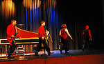 Red Priest, baroque music group with recorder player Piers Adams, cellist Angela East, harpsichord player Howard Beach, and violinist David Greenberg, performs in Merrick, Long Island, New York, USA, 2009, presented by Merrick Bellmore Community Concert Association MBCCA.