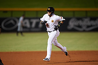 Mesa Solar Sox Isaac Paredes (18), of the Oakland Athletics organization, rounds the bases after hitting a two-run home run during an Arizona Fall League game against the Peoria Javelinas on September 21, 2019 at Sloan Park in Mesa, Arizona. (Zachary Lucy/Four Seam Images)