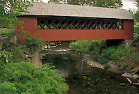 AJ4456, covered bridge, Brattleboro, Vermont, The red Creamery Covered Bridge ca. 1879 crosses over Whetstone Brook in Brattleboro in Windham County in the state of Vermont.