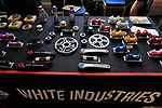 White Industries stand at Bespoked 2018 UK handmade bicycle show held at Brunel's Old Station & Engine Shed, Bristol, England. 21st April 2018.<br /> Picture: Eoin Clarke | Cyclefile<br /> <br /> <br /> All photos usage must carry mandatory copyright credit (© Cyclefile | Eoin Clarke)