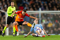 Moraes of Shakhtar Donetsk is tackled by Phil Foden of Manchester City during the UEFA Champions League Group C match between Manchester City and Shakhtar Donetsk at the Etihad Stadium on November 26th 2019 in Manchester, England. (Photo by Daniel Chesterton/phcimages.com)