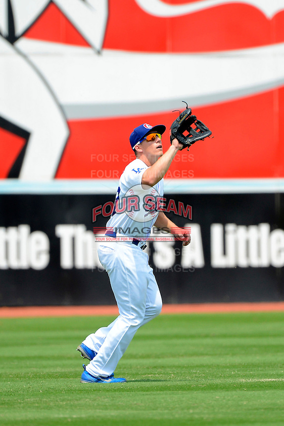 Chattanooga Lookouts outfielder Bobby Coyle #27 catches a fly ball during a game against the Birmingham Barons on April 17, 2013 at AT&T Field in Chattanooga, Tennessee.  Chattanooga defeated Birmingham 5-4.  (Mike Janes/Four Seam Images)