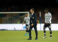 Juventus' coach  Massimiliano Allegri and  Juventus' Paul Pogba   leave the field during the  italian serie a soccer match against    SSC Napoli,    at  the San  Paolo   stadium in Naples  Italy , September 26 , 2015