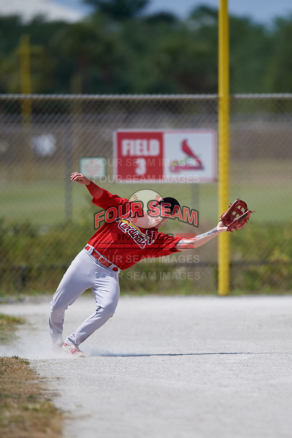 St. Louis Cardinals Shane Billings (15) during a Minor League Spring Training game against the Miami Marlins on March 26, 2018 at the Roger Dean Stadium Complex in Jupiter, Florida.  (Mike Janes/Four Seam Images)