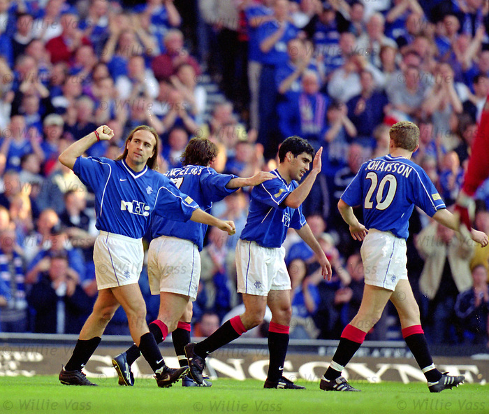 Seb Rozental celebrates scoring against Dundee at Ibrox, April 2000