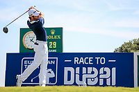Adrian Otaegui (ESP) on the 1st during the 1st round of the 2017 Portugal Masters, Dom Pedro Victoria Golf Course, Vilamoura, Portugal. 21/09/2017<br /> Picture: Fran Caffrey / Golffile<br /> <br /> All photo usage must carry mandatory copyright credit (&copy; Golffile | Fran Caffrey)