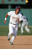 Adalberto Carrillo (8) of the Southern California Trojans runs the bases during a game against the Oakland Grizzlies at Dedeaux Field on February 21, 2015 in Los Angeles, California. Southern California defeated Oakland, 11-1. (Larry Goren/Four Seam Images)