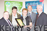 Francie and Mary O'Donoghue Carhan, Caherciveen receiving their award at the Farmbiz awards ceremony in the South Kerry Development building, Killorglin on Saturday evening l-r: Patsy Cronin South Kerry Development Partnership, Francie O'Donoghue, Mary O'Donoghue, Toma?s Hayes Kerry County Enterprise Board, Jerry Moloney Enterprise Ireland