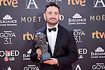 J.A. Bayona  pose to the media with the Goya  award at Madrid Marriott Auditorium Hotel in Madrid, Spain. February 04, 2017. (ALTERPHOTOS/BorjaB.Hojas)
