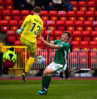 Gateshead's Dan Hanford vies for possession with Lincoln City's Harry Anderson<br /> <br /> Photographer Andrew Vaughan/CameraSport<br /> <br /> Vanarama National League - Gateshead v Lincoln City - Monday 17th April 2017 - Gateshead International Stadium - Gateshead <br /> <br /> World Copyright &copy; 2017 CameraSport. All rights reserved. 43 Linden Ave. Countesthorpe. Leicester. England. LE8 5PG - Tel: +44 (0) 116 277 4147 - admin@camerasport.com - www.camerasport.com