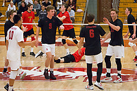 STANFORD, CA - January 2, 2018: Stephen Moye, Russell Dervay, Eli Wopat at Burnham Pavilion. The Stanford Cardinal defeated the Calgary Dinos 3-1.