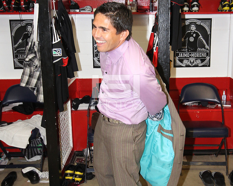 Jaime Moreno #99 starts to get ready during the final appearance of Jaime Moreno in a D.C. United uniform, at RFK Stadium, in Washington D.C. on October 23, 2010. Toronto won 3-2.