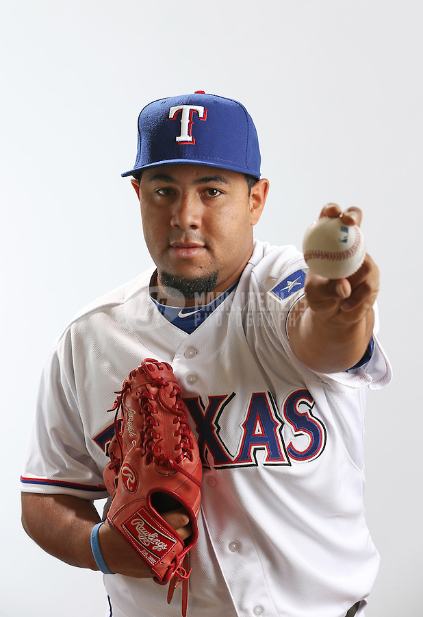 Feb. 20, 2013; Surprise, AZ, USA: Texas Rangers pitcher Joe Ortiz poses for a portrait during photo day at Surprise Stadium. Mandatory Credit: Mark J. Rebilas-