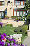 sunny summer image of colorful pink and purple summer annuals spilling out of interesting raised planter boxes built in to a stucco wall that terraces down the back yard of a European-style estate house