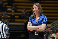 California head coach Lindsay Gottlieb smiles during the game against Arizona State at Haas Pavilion in Berkeley, California on February 16th, 2014.  California defeated Arizona State, 74-63.