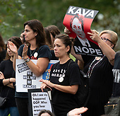 Anti-Kavanagh protestors on the grounds of the United States Capitol in Washington, DC as the US Senate floor statements continue inside the building on Saturday, October 6, 2018. <br /> Credit: Ron Sachs / CNP<br /> RESTRICTION: NO New York or New Jersey Newspapers or newspapers within a 75 mile radius of New York City)