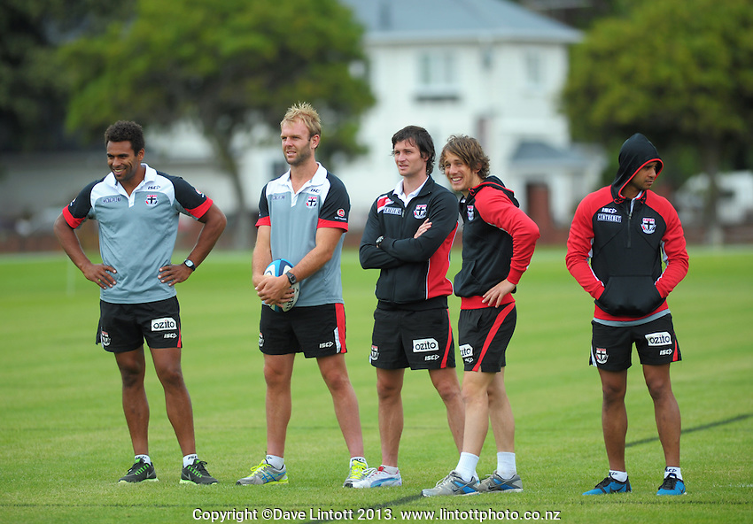 St Kilda players watch the Hurricanes Super 15 rugby training at Hutt Recreation Ground, Lower Hutt, Wellington, New Zealand on Thursday, 24 January 2013. Photo: Dave Lintott / lintottphoto.co.nz