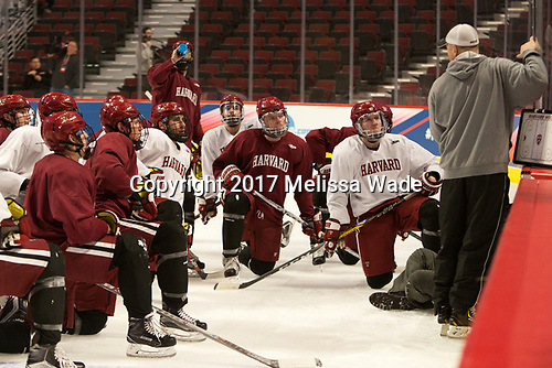 Paul Pearl (Harvard - Associate Head Coach) goes through a drill. - The Harvard University Crimson practiced at the United Center on Wednesday, April 5, 2017, in Chicago, Illinois.