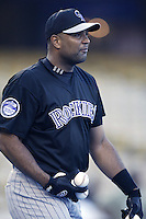 Sandy Alomar jr of the Colorado Rockies before a 2002 MLB season game against the Los Angeles Dodgers at Dodger Stadium, in Los Angeles, California. (Larry Goren/Four Seam Images)