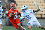 29 April 2016: North Carolina's Steve Pontrello (0) and Syracuse's Mike Messina (21). The University of North Carolina Tar Heels played the Syracuse University Orange at Fifth Third Bank Stadium in Kennesaw, Georgia in a 2016 Atlantic Coast Conference Men's Lacrosse Tournament semifinal match.
