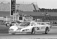 The #04 Jaguar XJR-5 of Bill Adam, Pat Bedard and Brian Redman races to a 24th place finish in the SunBank 24 at Daytona, Daytona International Speedway, Daytona Beach, FL, Feb. 4-5, 1984. (Photo by Brian Cleary/www.bcpix.com)
