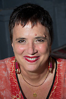 "Eve Ensler playwright author cancer survivor and activist against global violence against women and girls reading from her new book "" In the Body of the World: A Memoir"" at the Brattle Theater Cambridge MA sponsored by the Harvard Bookstore 5.6.13."