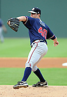 Starting pitcher Greg Ross (40) of the Rome Braves, an Atlanta Braves affiliate, in a game against the Greenville Drive on August 13, 2012, at Fluor Field at the West End in Greenville, South Carolina. Rome won, 3-2. (Tom Priddy/Four Seam Images).