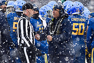 PHILADELPHIA, PA - DEC 9, 2017: Navy Midshipmen head coach Ken Niuamtalolo argues a none call with the referee during a timeout of the game between Army and Navy at Lincoln Financial Field Philadelphia, PA. Army defeated Navy 14-13 to win the Commander in Chief Cup. (Photo by Phil Peters/Media Images International)