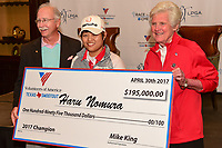 Mike King, President and CEO of Volunteers of America and Kathy Whitworth present Haru Nomura (JPN) her check for winning the Volunteers of America Texas Shootout Presented by JTBC, at the Las Colinas Country Club in Irving, Texas, USA. 4/30/2017.<br /> Picture: Golffile | Ken Murray<br /> <br /> <br /> All photo usage must carry mandatory copyright credit (&copy; Golffile | Ken Murray)