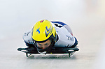 18 November 2005: Yamada Courtney of the USA slides down the track to take 6th place at the 2005 FIBT World Cup Women's Skeleton competition at the Verizon Sports Complex, in Lake Placid, NY. Mandatory Photo Credit: Ed Wolfstein.