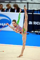 Alessia Marchetto of Italy balances with rope during junior team final at 2008 European Championships at Torino, Italy on June 5, 2008.  Photo by Tom Theobald.